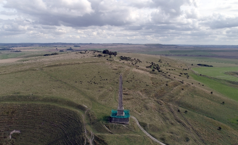 Oldbury Castle near Cherhill Wiltshire views in all directions with the aerial drone