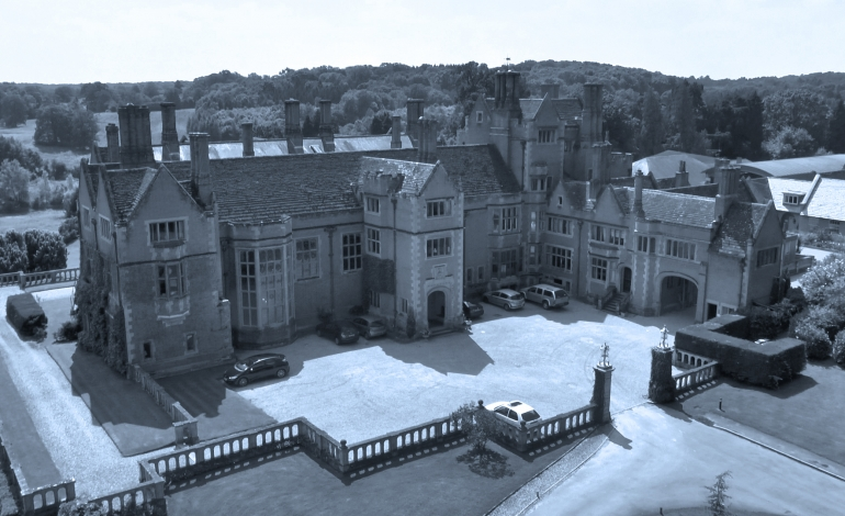 Aerial photograph manor house filmed by drone