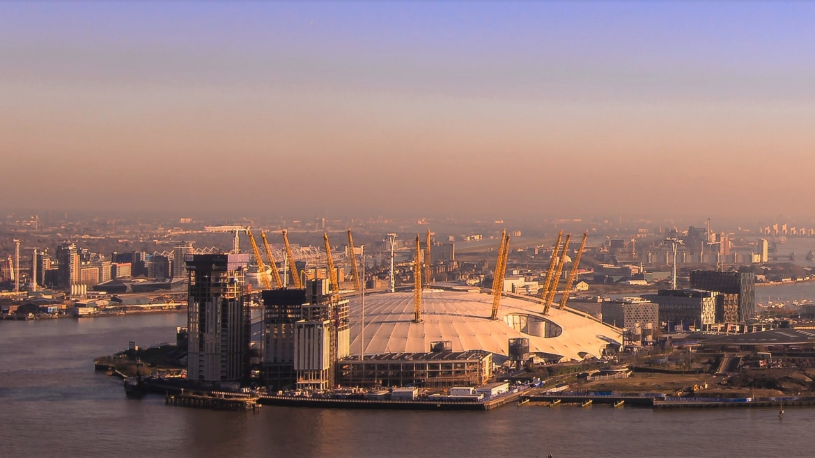 Aerial photograph O2 London aerial filming photography company