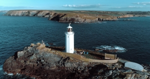 aerial photograph lighthouse godrevy point cornwall