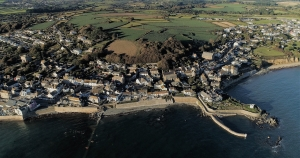 aerial photograph coastal seaside town